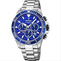 Orologio Uomo Cronografo Festina Prestige F20361/2 Acciaio Quadrante Blu Datario