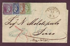 TRIESTE to GREECE - AMAZING 4-COLOR POSTAGE DUE 1865 Cover - MUST SEE !!