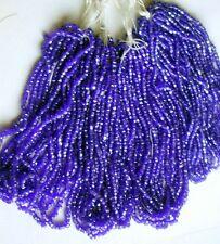 Vintage Antique Royal Blue Facet Czech Glass Seed Beads FOUR Mini Hanks Lot 10/0
