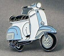 Metal Enamel Pin Badge Brooch Vespa Scooter Motorbike Biker Rider Light Blue Wht