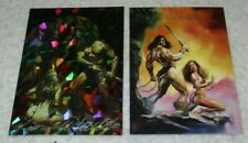 BORIS VALLEJO JULIE BELL FANTASY BARBARIAN LOT OF 2 CARDS SIGNED AUTOGRAPHED