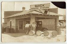 Gas station, service garage, oil, Gillette Tires c. 1915, photo postcard RPPC