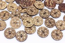 Tribal Flower Coconut Shell Buttons Floral Pattern Two Holes Round 20mm 20pcs
