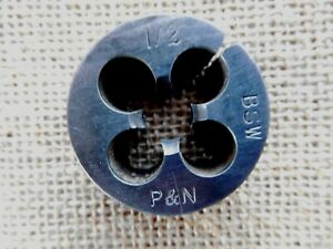 """P & N 1/2"""" BSW  die for a die stock metal thread cutting tool QUALITY 38 mm od."""