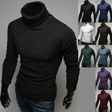 Mens Dandy Casual Fashion Knit Turtleneck Sweater Long Sleeve Polo Top M272 S/M