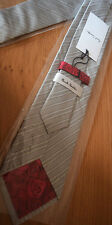 Paul Smith GREY Tie MAINLINE 8cm Blade 100% Silk Made in Italy Rose Back