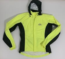 Men's O2 Medium High Visibility Yellow Waterproof Hooded Jacket Cycle Bike