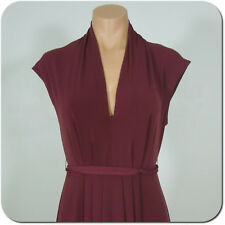 MAX AND CLEO Women's Dress, Burgundy V-Neck, Pleated Front Tie Waist size XS