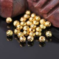 6~10mm Frosted Round Carved Big Hole Metal Brass Alloy Loose Spacer Bead