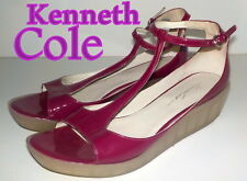 "Fabulous ""Kenneth Cole"" Fuschia  Leather Wedge  Sandals Shoes UK 6  EU 39  £145"
