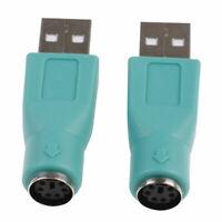 2x Adaptateur convertisseur PS/2 PS2 Femelle vers USB Male pour Clavier, Souris
