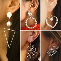 Fashion Women Crystal Pearl Statement Drop Dangle Stud Earrings Wedding Jewelry