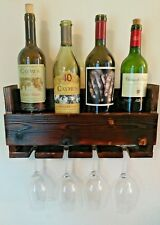Wine Rack Shelf & Glass Holder Floating Farm House Style Wood Handmade 4 Bottle