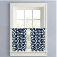 "Morocco Quatrefoil Tier Curtain Panel Set 36"" Dark Blue And White"