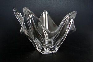 "Mid-Century Modern Art Glass Hand Blown Clear Free Form Bowl Rib Design 7 1/2"""