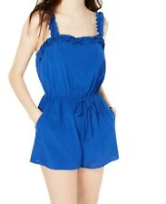 Bebop Blue Size Large L Junior Ruffle Drawstring Cinch Waist Romper $39 #252