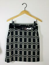 MILLY NEW YORK Black White Plaid Size 2 Patent Belted Wool Skirt