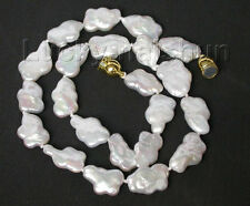 """Genuine 17"""" 18mm white Reborn keshi pearls necklace filled gold clasp j8793"""