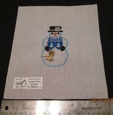 Hand painted Needlepoint Canvas Snow Skier Snowman  Painted Pony Designs 906 O