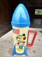 Vintage Walt Disney Mickey Mouse spaceship rocket kids straw drinking cup 🚀🚀🚀