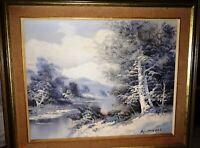 Rare 1849s Almon (Almond) Baldwin( Landscape Winter Scene Oil Painting Signed