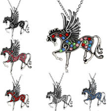 Pegasus Fly Horse Necklace Rhinestone Charm Pony Pendant Silver Chain Jewelry