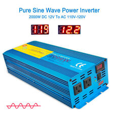4000W Peak Pure Sine Wave Power Inverter DC 12V To 110V 120V AC converter LED US