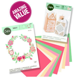 SIZZIX® THINLITS WEDDING THEMED SET - FAVOUR BOX & WREATH + FREE A5 CARD SHEETS