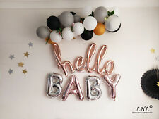 Hello Baby Rose gold Balloons Script balloons silver letters baby shower gender