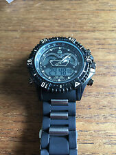 New Big Chunky Military Style Quartz & Digital Watch –Silicone Strap W81b