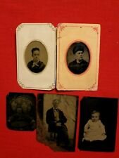 ( 5 ) TINTYPES / FAMILY / MOTHER, FATHER, CHILDREN, GRANDFATHER