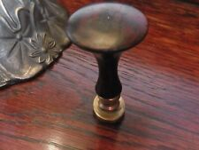 Antique English 19th Century Wax Seal Initial R Wood & brass Office Gift Treen