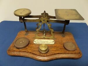 Vintage Antique Inland Postal Letter Scales on Wood Plinth with Brass Weights.