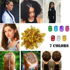 100Pcs Hair Braiding Dread Dreadlock Beads Cuff Clip Women's Metal Rings Sliver