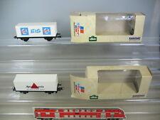 M648-0,5# 2x Roco,H0 Container load car: Apollinaris+Schöller Ice,TOP
