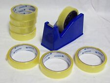 DESKTOP HEAVY DUTY WEIGHT SELLOTAPE DISPENSER HOLDER - 8 FREE ROLLS OF TAPE