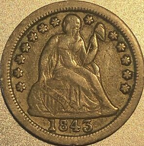 1843 Liberty Seated Dime No Reserve AUCTION.