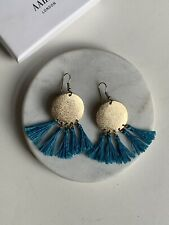 Turquoise Tassell Earrings New Gold Tone