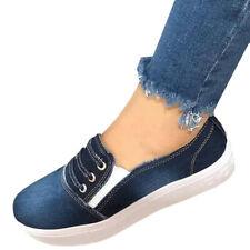 Damen Sneakers Denim Jeans Slip-ons Slipper Fransen Flats 814498 Schuhe