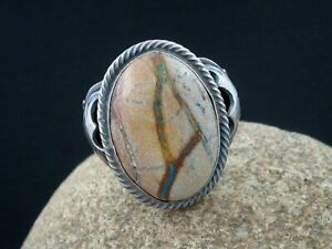 Robert Shakey Navajo Boulder Turquoise and Sterling Handmade Ring  - Size 11 1/2