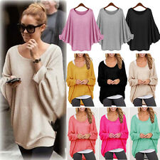 Women Oversized Batwing Sleeve Knitted Cardigan Loose Blouse Sweater Jumper Top