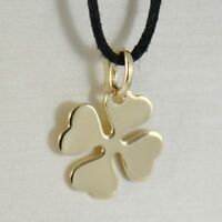 18K YELLOW GOLD PENDANT CHARM 18 MM, FLAT LUCKY FOUR LEAF CLOVER, MADE IN ITALY
