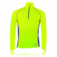 Higher State Mens Yellow Blue Reflective Half Zip Long Sleeve Running Top