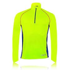Higher State Mens Yellow Blue Reflective Half Zip Long Sleeve Running Top