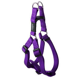 Rogz Fanbelt Step-In Dog Harness For Large Dogs Purple Reflective Safety Nylon