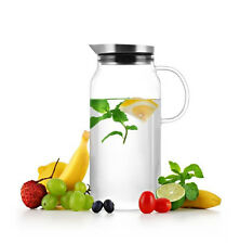 Borosilicate Glass Water Pitcher Jug with Lid for Fruit Infusion Ice Tea 1300ml