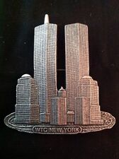 World Trade Center Pewter Pin WTC New York Twin Towers USA Brooch Large Sept 11
