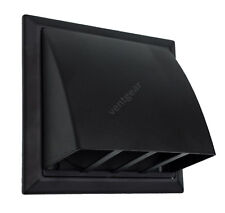 "100mm 4"" Black Cowl & non return flap - Tumble dryer-Extractor fan - Cooker Hood"