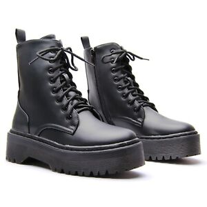 WOMENS LADIES LACE UP ZIP FAUX LEATHER FASHION GOTH PUNK MILITARY ANKLE BOOTS UK