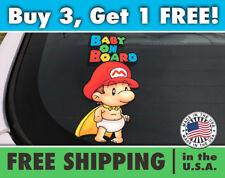 Super Mario Baby On Board Bumper Sticker, Baby on Board Super Mario Car Decal
